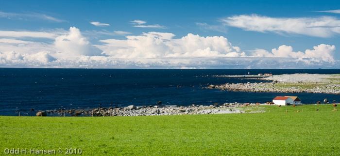 Utsikt utover Nordsjøen fra Obrestad fyr